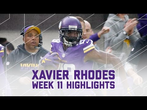 Xavier Rhodes 2-INT Day!   Cardinals vs. Vikings   NFL Week 11 Player Highlights