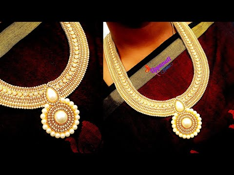 How To Make Designer Pearl Necklace At Home   DIY   jewelry Making   Bridal Necklace   uppunutihome