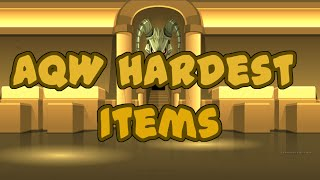 """Adventure Quest WorldsIf you want to know why do i think this are the hardest items to get keep scrolling downBefore you agree or disagree first of all this is my opinion you can think there is a hardest item to get so please share with me on the comments which item you think is the hardest to getSpoilers10: Blade of Awe ( this item is hard to get because of """"Runed Found"""" you need a drop From Tibicenas and is 0.3% drop)9: Armor of Awe (this armor might take at least 2 weeks to get it the helmet should be the hardest because you have to kill Undead Raxgore 250 Times! just for the helm)8: Legion Tokens (in this top i meant all the armors, weapon, capes you can get with legion tokens as you know farming legion tokens takes a lot of time maybe 100 per day if you put effort on it but remember there are items that cost 2000 Legion Tokens include 10,000 Legion tokens)7: Caladbolg (aah Caladbolg this item.. well you will hate to farm this because first you need to be legion, second you need altar of caladbolg which you obtained from Treasure Chest ( 1/200 Chance Approx) then you need Legion titan wich costs armound 700 Legion tokens and Caladbolg should be around 5% drop from the quest)6: Lesser Caladbolg (this Caladbolg should be named """"impossible Sword"""" first of all you need to kill Binky (Monster) as you know binky is not that easy to defeat but thats the easy part... the drop quest is 1% then to get lesser caladbolg is a random drop of 1% so yeah you need a LOT of luck)5: Nulgath Items ( Nulgath items takes a lot of time to complete first of all you need Unidentified 13 (Contrat of Nulgath) then in my opinion the hard items to farm are Totems of Nulgath)4: Sepulchure's Doomknight Armor (this armor is similar to Blinding Light of Destiny Quests)3: Blinding Light of Destiny (this is the hardest axe to get in the game, it is the original weapon of artix what makes hard to get BLooD is that you need 10,000 Spirit Orbs also you need 3 specific Metals (Daily Quest) and some r"""