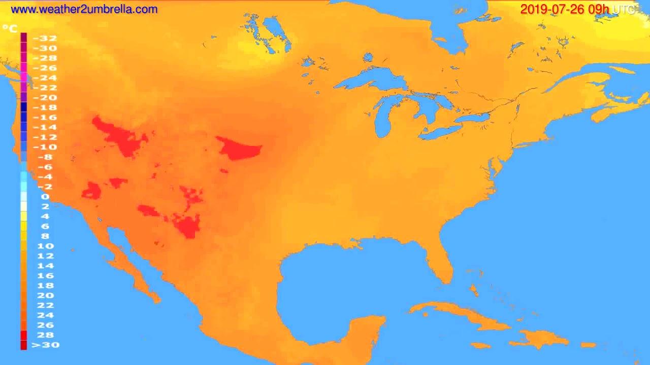 Temperature forecast USA & Canada // modelrun: 12h UTC 2019-07-24