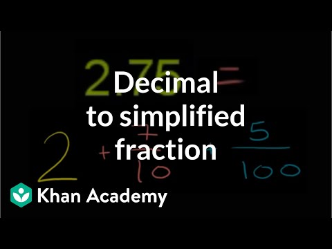 Decimal To Simplified Fraction Video Khan Academy