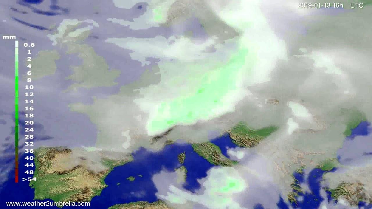 Precipitation forecast Europe 2019-01-10