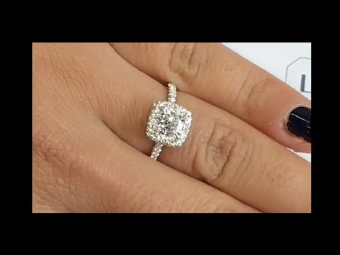 0.82 ct Cushion Cut Diamond Halo Engagement Ring
