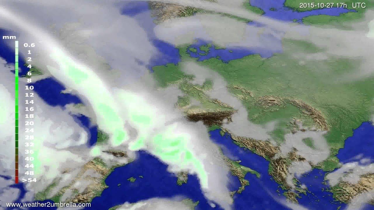 Precipitation forecast Europe 2015-10-25