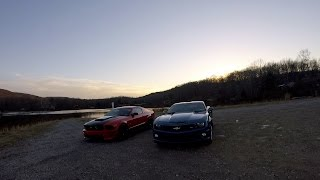 A 2010 Camaro and a 2006 Mustang shot with a GoPro Hero Session 5 and Phantom 3 Drone.