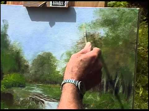 Tony Mercier paints a forest scene in Acrylics