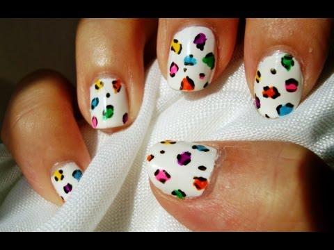 Diseño uñas leopardo neon blanco / Neon white leopard nail design