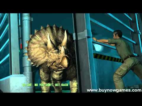 Jurassic Park. T-Rex vs. Triceratops Gameplay [Game video HD] (PC, MAC, Xbox360, PSP) - 2011
