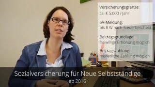 Steuerreform 2016 - Sozialversicherung für Neue Selbstständige