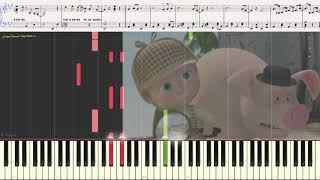 """Как в кино - """"Маша и Медведь"""" (Ноты и Видеоурок для фортепиано) (piano cover)"""