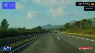 Castellon de la Plana Spain  city photos : Driving from Reus to Castellón de la Plana (Spain) 8.12.2015 Timelapse x4