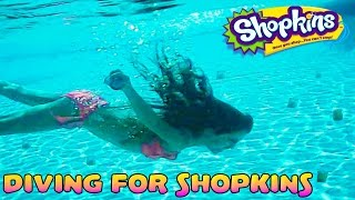 DIVING FOR SHOPKINS - Food Fair Candy Jars - Underwater Shopkins Hunt in the Pool