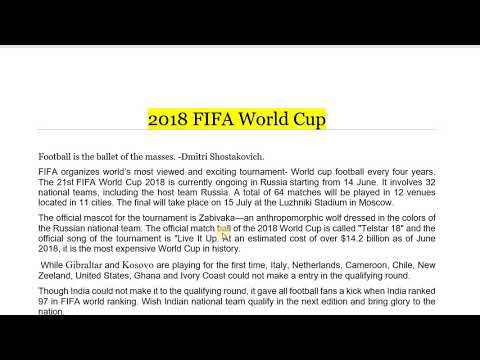 FIFA World Cup 2018  Eassy || Russia
