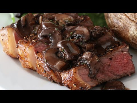 NY Strip Steak With Mushroom Sauce With Cream, Red Wine & Rosemary In Cast Iron Skillet