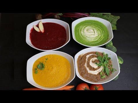 Peso ideal - 4 Recetas crudas de verduras. Sopas desintoxicantes y saludables.