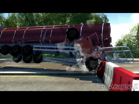 BeamNG Drive Alpha D-15 Full size logging trailer Crash Testing #90 HD
