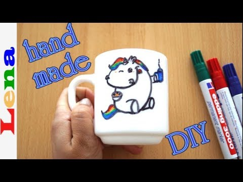 Tasse bemalen - Pummeleinhorn zeichnen - How to draw unicorn - Cup painting - как разрисовать кружку