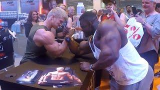 Video Bodypower Expo UK Blessing awodibu arm wrestle Zac Ansley MP3, 3GP, MP4, WEBM, AVI, FLV Mei 2019