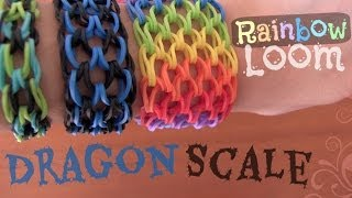 RAINBOW LOOM : Dragon Scale Cuff Bracelet - How To | SoCraftastic
