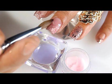 Las uñas acrilicas más vendibles y de salón con almendra de 5 minutos y maquillaje en la uña natural