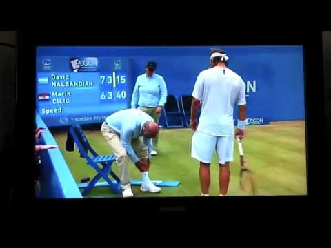 kicks linesman - David Nalbandian angrily kicks Linesman and gets disqualified - Queens 2012 Final david nalbandian kicks linesman violence in queens final bbc one 2012 marti...