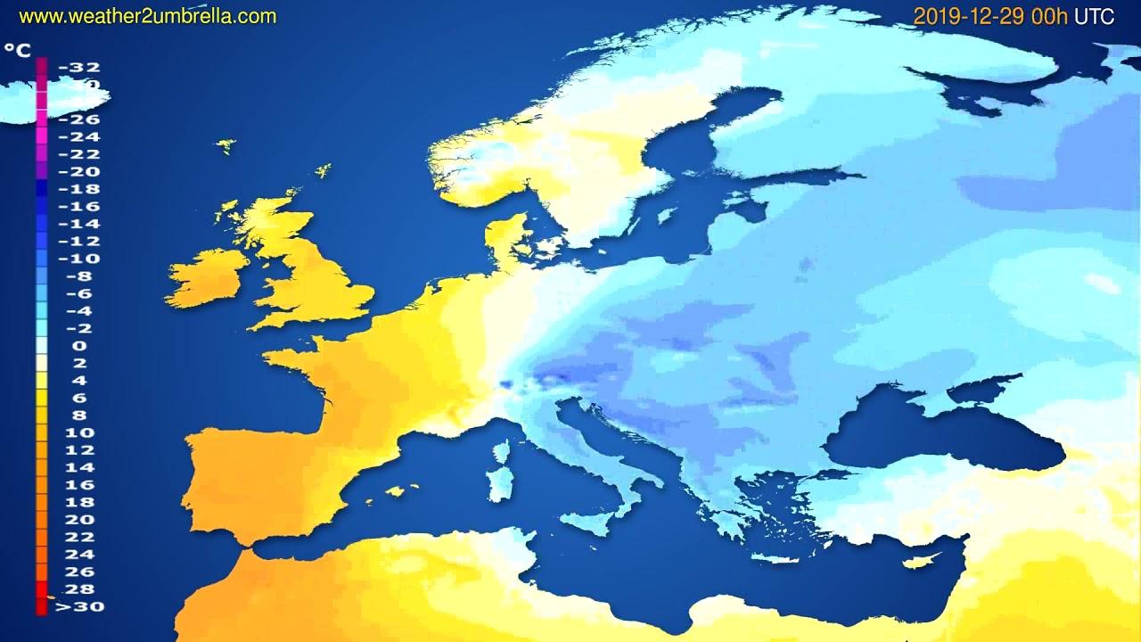 Temperature forecast Europe // modelrun: 00h UTC 2019-12-28