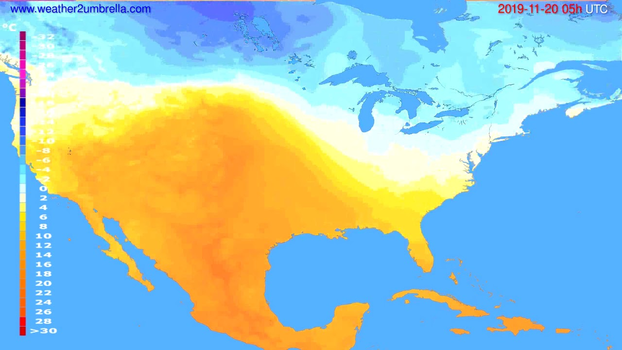 Temperature forecast USA & Canada // modelrun: 12h UTC 2019-11-18