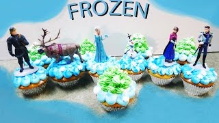 This video demonstrates how to make cupcakes with the characters from the movie FROZEN.