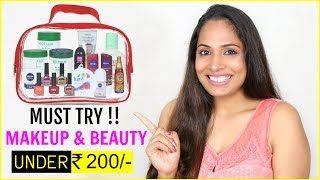 Stalk me - https://goo.gl/1gmCTAWho doesn't love to save some extra bucks?? So in this video, I have shared 25 really affordable Makeup, Skincare, Haircare products that you MUST TRY and they are all under Rs 200/- Don't forget to LIKE, SHARE & COMMENT!!PRODUCTS SHOWN--------------------------------Patanjali Saundarya Aloe Vera Kesar Chandan Gel - http://amzn.to/2scZ65cNivea Whitening Smooth Skin Roll On - http://amzn.to/2t8gvQWBiotique Almond Oil Nourishing Body Soap - http://amzn.to/2scCrGtBiotique Bio Papaya Revitalizing Tan-Removal Scrub for All Skin Types - http://amzn.to/2sd6mhGBiotique Bio Almond Soothing and Nourishing Eye Cream - http://amzn.to/2tLFK9hLacto Calamine Skin Balance Daily Nourishing Lotion - Hydration - http://amzn.to/2t8hy3kKaya Refreshing Mattifying Wipes - https://goo.gl/HMaJvwThe Face Shop Real Nature Lotus Face Mask - https://goo.gl/AyGtLZOzone Henna Conditioner 100g x 6http://amzn.to/2tQ8zBvParachute Advansed Ayurvedic Hair Oil, 95mlhttp://amzn.to/2sckrRrPatanjali Dant Kanti Dental Cream - 200 ghttp://amzn.to/2teeaniNivea for Men Sensitive After Shave Balm - 100 mlhttp://amzn.to/2tQshNzNivea Lip Care Fruity Shine Cherry, 4.8gmhttp://amzn.to/2sbF1kXNivea Lip Care Fruity Shine, Blackberry, 4.8ghttp://amzn.to/2sbn1aaRevlon Colorstay Shadow Links Eye Shadow, Periwinkle, 1.4ghttp://amzn.to/2rWshu7Elle 18 Color Pops Lip Color, Candy Kiss 40, 4.3 mlhttp://amzn.to/2sLHam1PAC Lip Pencil - LPL03 (Coffee) 2 ghttp://amzn.to/2tQEJNdLakme Enrich Lip Crayon with Free Sharpner, Mauve Magic, 14.4ghttp://amzn.to/2sLKayxUROPARIS False Eyelashes for Women, 3, Blackhttp://amzn.to/2sLyBYoNykaa Nail Paints (Mirror Chrome) - https://goo.gl/sx7164 Nykaa Nail Enamel -https://goo.gl/FTTsn4Nykaa Matte Nail Lacquer-https://goo.gl/VVoHH4Kara Wipes Nail Polish Remover, Rose (30 Pulls)http://amzn.to/2rWFTFNRELATED MAKEUP VLOGS ---------------------------------------------Affordable Skincare & Haircare Kits - All Products Under ₹500/- https://youtu.be/vCgaiNgkz6sAffordab