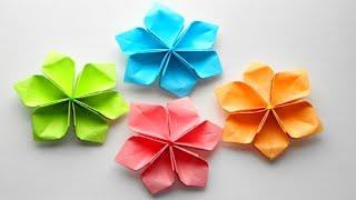 Простые Бумажные цветы. Оригами поделки