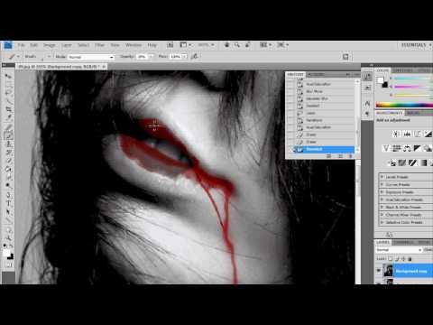 Как сделать кровавые слезы в фотошопе