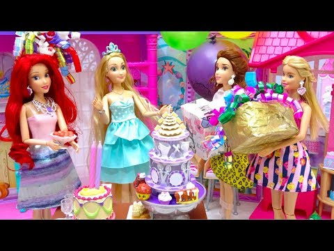 Rapunzel's Surprise BIRTHDAY Ariel Prep Party with Princesses and Barbie Dress up - Cake - Presents