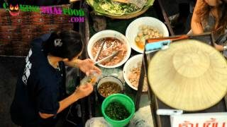 Thai Boat Noodle Soup - Thai Street Food Vendor Soup With Blood In Bangkok, Thailand