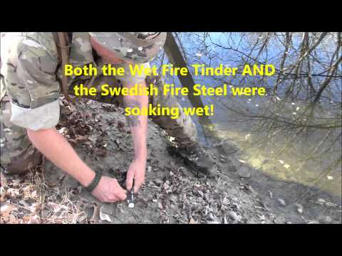 Wet Fire Tinder and Swedish Fire Steel Product Review
