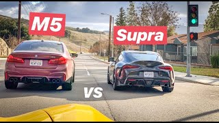F90 BMW M5 RACES SUPRA FOR PINK SLIPS! by Vehicle Virgins