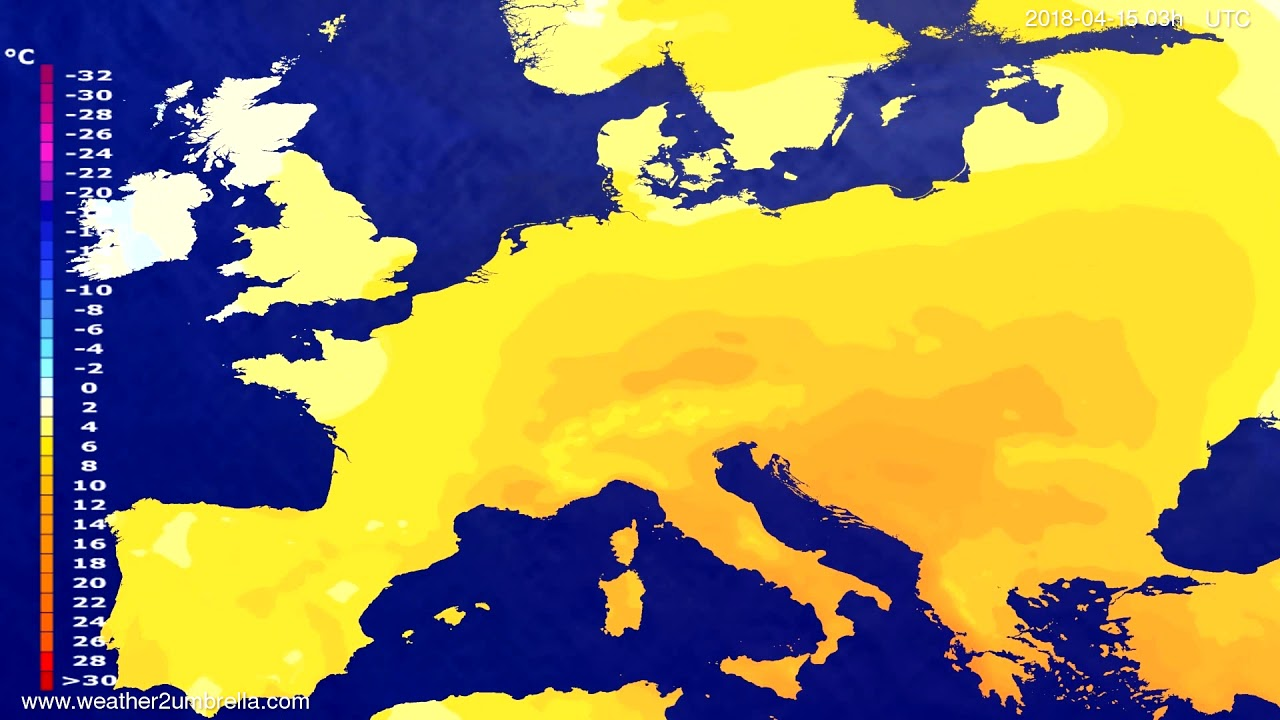Temperature forecast Europe 2018-04-12