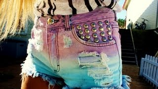 DIY: DIP DYED, STUDDED SHORTS. Easy step by step. - YouTube
