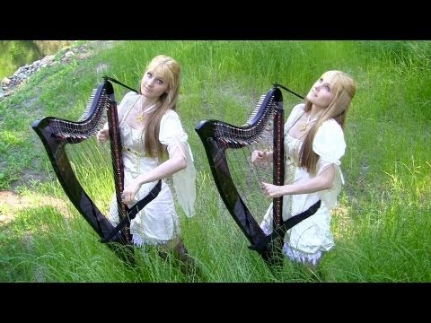 The HOBBIT - Misty Mountains Cold (LOTR) Harp Twins - Camille And Kennerly