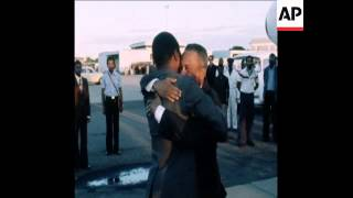 (5 Jul 1978) The arrival of President Luis Cabral of Guinea-Bissau in the Mozambique capital of Maputo. He is greeted by the...