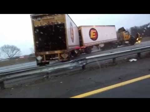 1.18.15 NJ Turnpike I-95 Crash – Black Ice – Trailer flip