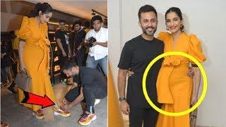 Video Sonam Kapoor Flaunts PREGNANT Baby Bump With Anand Ahuja At Fila Store Launch MP3, 3GP, MP4, WEBM, AVI, FLV Juni 2019