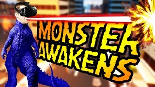 Let's Play VR Monster Awakens! In VR Monster Awakens be a giant MONSTER! Moving around the city in REAL ACTION and DESTROY everything to release your anger! ...