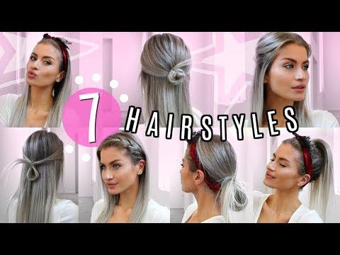 Easy hairstyles - 7 STRAIGHT HAIR HEATLESS HAIRSTYLES! SIMPLE & EASY!  LYSSRYANN