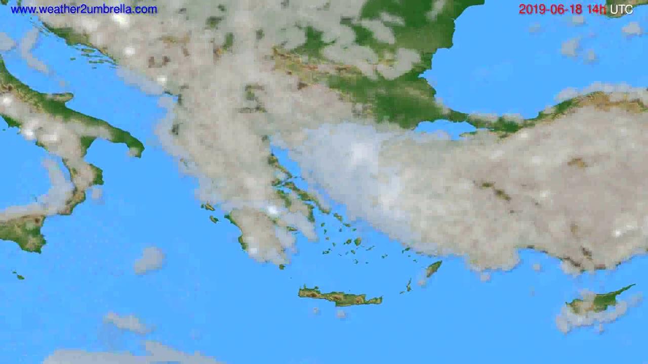 Cloud forecast Greece // modelrun: 12h UTC 2019-06-16