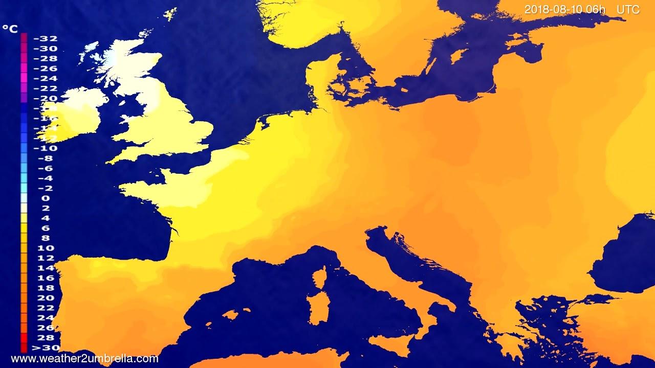 Temperature forecast Europe 2018-08-06