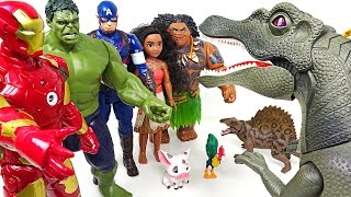 Video Mavel Hulk, Spider man, Iron man, Captain america with Moana VS Dinosaur - DuDuPopTOY MP3, 3GP, MP4, WEBM, AVI, FLV Maret 2018