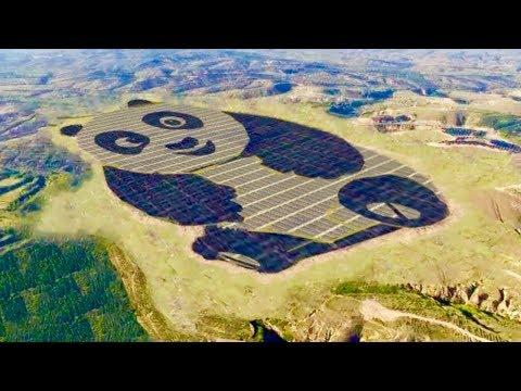 Giant Panda Shaped Solar Farm in China - Cute Renewable Energy