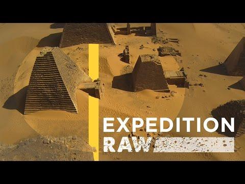 bird's-eye view of 3,000-year-old Nubian Pyramids