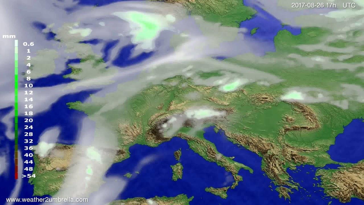 Precipitation forecast Europe 2017-08-24