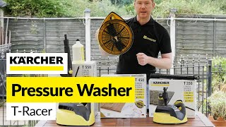 For all your Karcher spares visit: http://bit.ly/2bmXDCYNeed to clean your drive or decking?.Karcher T Racer attachments can clean large areas quickly without disturbing the block paving sand or damaging the decking wood. Mat shows the current range of T Racer attachments for Karcher pressure washers.